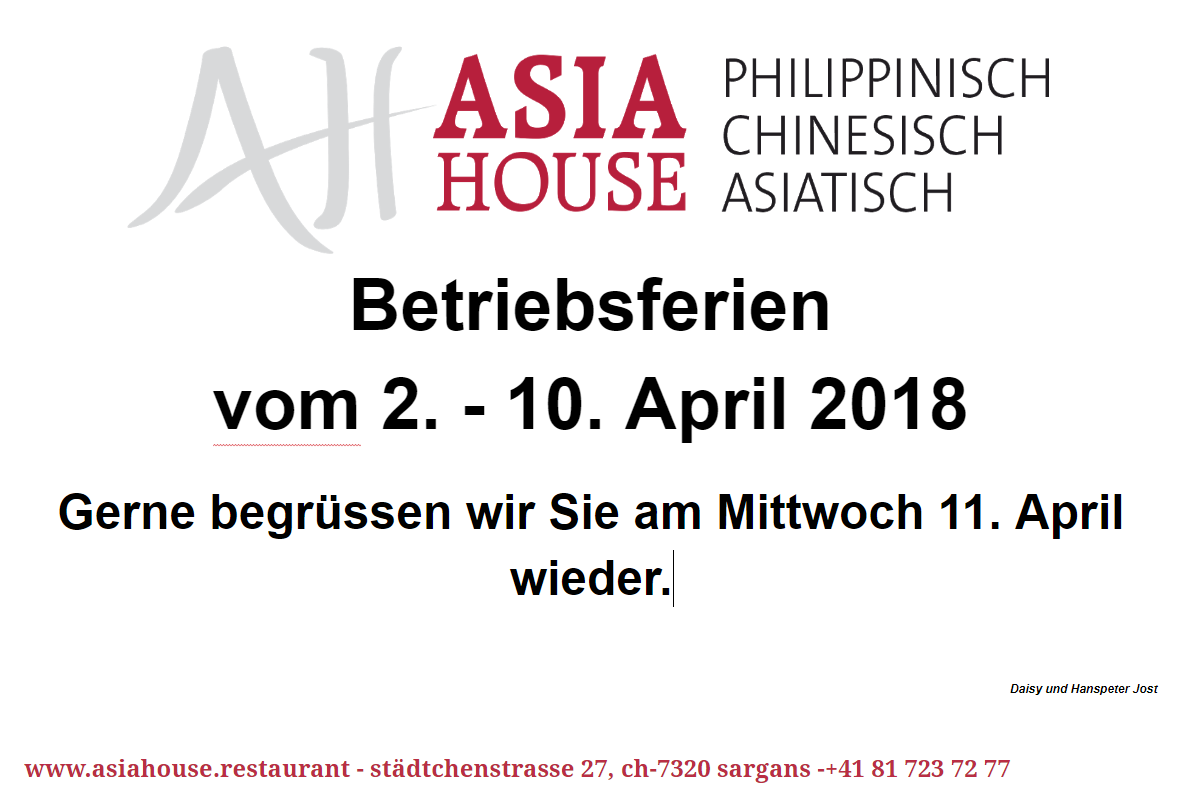 Betriebsferien 2-10. April 2018